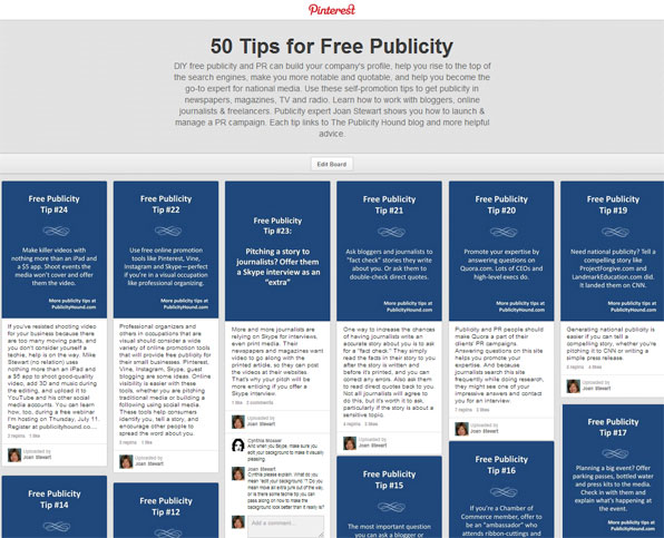 Pinterest Board 50 Tips for Free Publicity