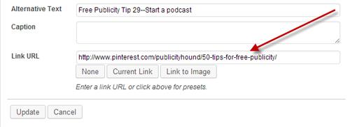 URL for 50 Tips Pinterest Board